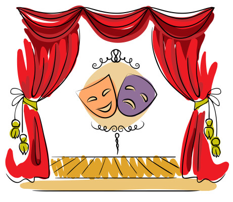 Theater stage with red curtain and masks vector illustration